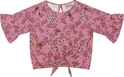 Blusa em Tricoline Viscose Flor Rosa
