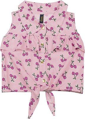 Camisa em Tricoline com Amarração Cereja Rosa