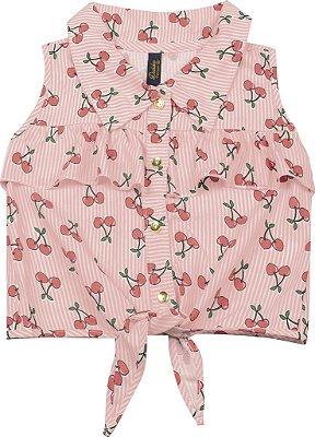 Camisa em Tricoline com Amarração Cereja Salmão