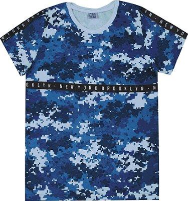 Camiseta em Meia Malha Penteada Estampa Rotativa Azul