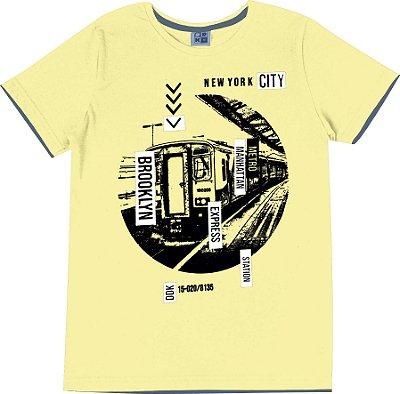 Camiseta em Meia Malha Penteada Estampa Frontal Amarelo