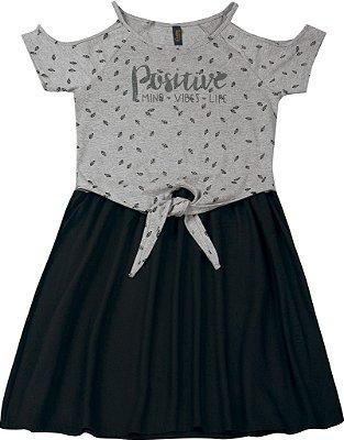 Vestido em Meia Malha com Estampa Positive Mescla