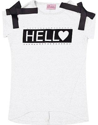 Blusa em Meia Malha com Estampa Hello e Detalhe em Fita Branco
