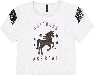 Blusa em Meia Malha com Estampa Unicorns e Detalhe em Franja nas Mangas Branco