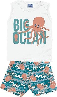 Conjunto Machão com Estampa e Bermuda Tactel Estampada Big Ocean Branco
