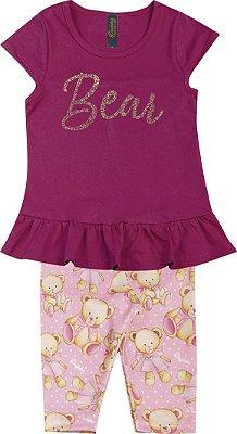 Conjunto de Blusa Strass e Capri Urso Rosa