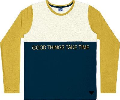 Camiseta em Meia Malha Penteada Amarelo