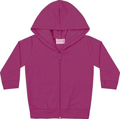 Jaqueta em Moletom Soft Peluciado Rosa