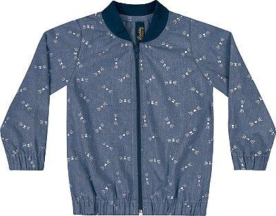 Jaqueta em Chambray Rotativo Azul