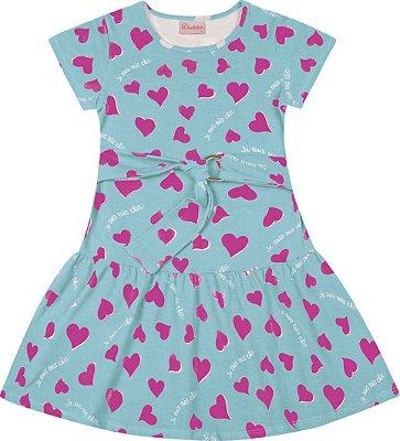 Vestido Cotton Penteado Coração Azul