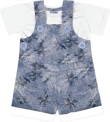 Jardineira em Moletom Estampada com Camiseta em Meia Malha Azul