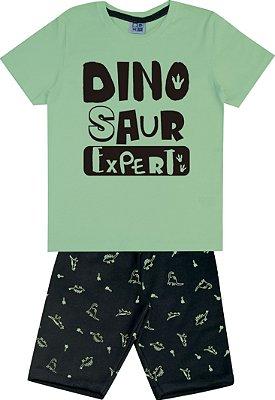 Conjunto Camiseta Estampada Dino e Bermuda em Moletom Verde