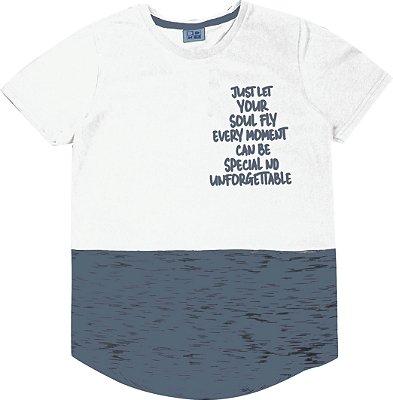Camiseta em Meia Malha Penteada com Estampa e Detalhes Branco