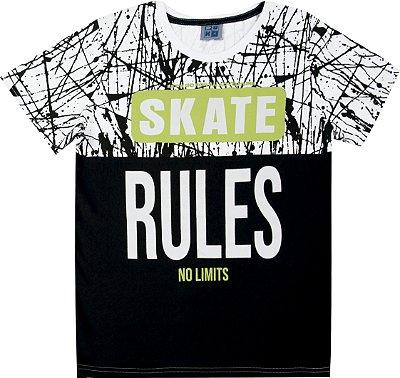 Camiseta em Meia Malha Penteada com Estampa Skate Branco