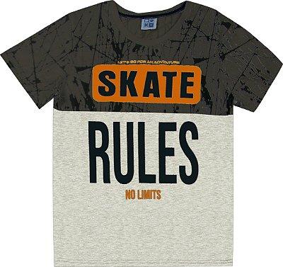 Camiseta em Meia Malha Penteada com Estampa Skate Cinza