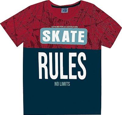 Camiseta em Meia Malha Penteada com Estampa Skate Vermelho