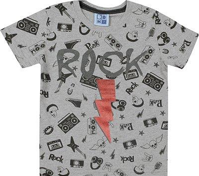 Camiseta em Meia Malha Penteado Estampa Rock Mescla