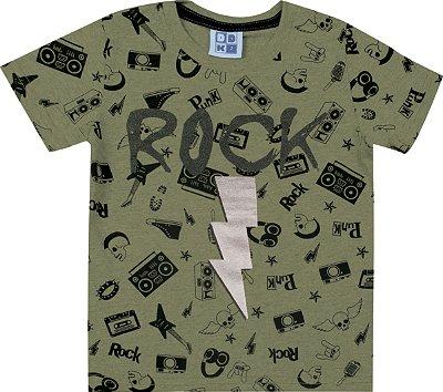 Camiseta em Meia Malha Penteado Estampa Rock Verde