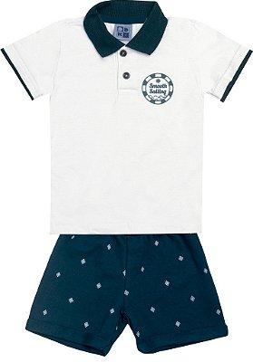 Conjunto Camiseta Polo com Estampa e Bermuda em Moletom Branco