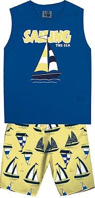 Conjunto Machão Estampada Barco e Bermuda Tactel Estampada Azul