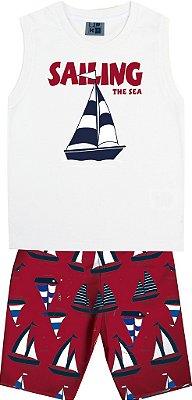 Conjunto Machão Estampada Barco e Bermuda Tactel Estampada Branco