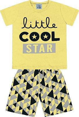 Conjunto Camiseta Estampada Little Cool Star e Bermuda Tactel Estampada Amarelo
