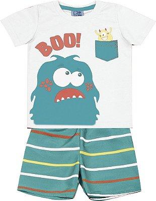 Conjunto Camiseta Estampada e Bermuda Tactel Rotativa Boo Branco