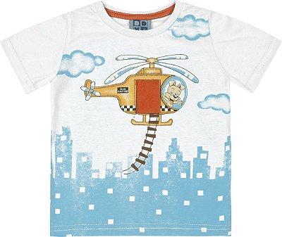 Camiseta em Meia Malha Penteada com Estampa e Aplique em Feltro Branco