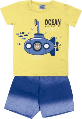 Conjunto Camiseta com Estampa e Bermuda Tactel Rotativa Submarino Amarelo
