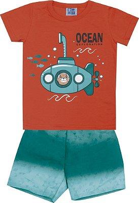 Conjunto Camiseta com Estampa e Bermuda Tactel Rotativa Submarino Laranja