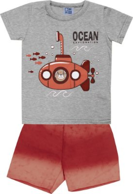 Conjunto Camiseta com Estampa e Bermuda Tactel Rotativa Submarino Mescla