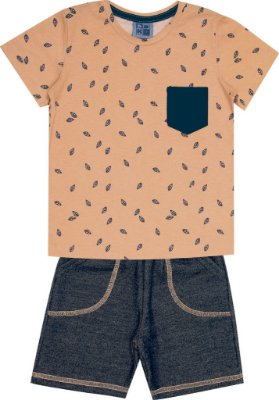 Conjunto Camiseta com Estampa Folhas e Bermuda Moletom Jeans Laranja