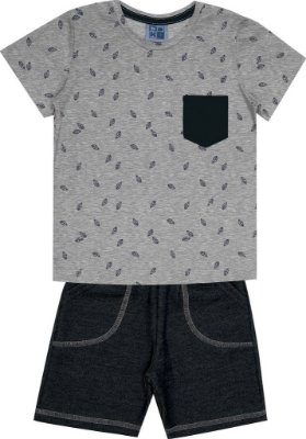 Conjunto Camiseta com Estampa Folhas e Bermuda Moletom Jeans Mescla