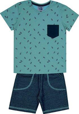 Conjunto Camiseta com Estampa Folhas e Bermuda Moletom Jeans Verde