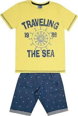 Conjunto Camiseta Estampada Traveling com Estampa e Bermuda Jeans Amarelo
