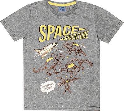 Camiseta em Meia Malha Penteada com Estampa Space Mescla
