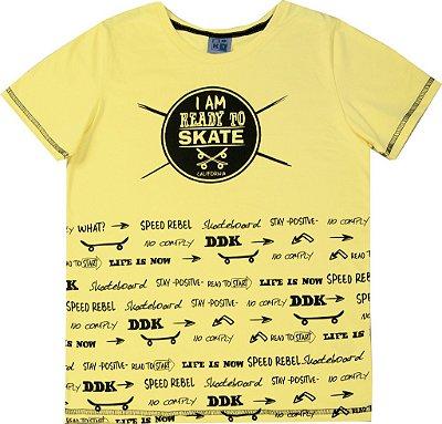 Camiseta em Meia Malha Penteada com Estampa Skate Amarelo
