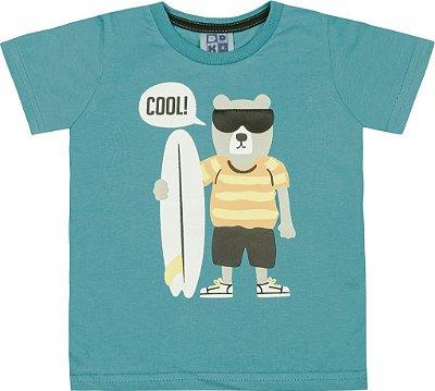Camiseta em Meia Malha Penteada com Estampa e Aplique em Couro Sintético Verde