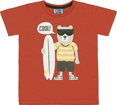 Camiseta em Meia Malha Penteada com Estampa e Aplique em Couro Sintético Vermelho