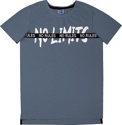 Camiseta em Meia Malha Penteada com Estampa e Detalhe No Rules Azul