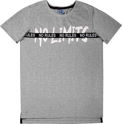 Camiseta em Meia Malha Penteada com Estampa e Detalhe No Rules Mescla