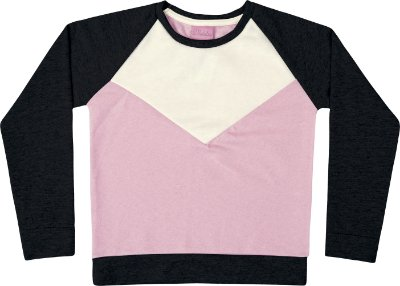 Blusão em Moletinho PA com Recorte em Plush Peluciado Rosa