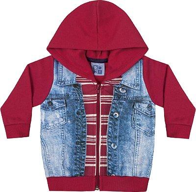 Jaqueta em Moletom Soft Peluciado com Estampa Vermelho