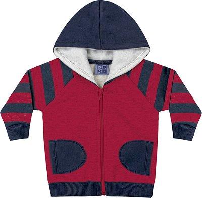 Jaqueta em Moletom Soft Peluciado com Capuz Vermelho