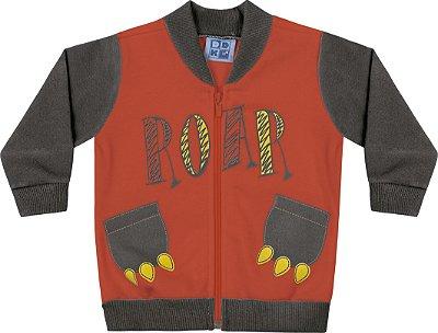 Jaqueta em Moletom Soft Peluciado com Estampa Laranja