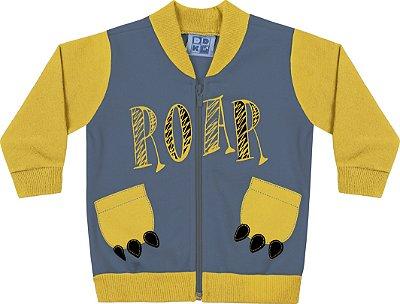 Jaqueta em Moletom Soft Peluciado com Estampa Azul