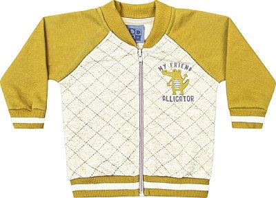 Jaqueta em Moletom Soft Peluciado Amarelo