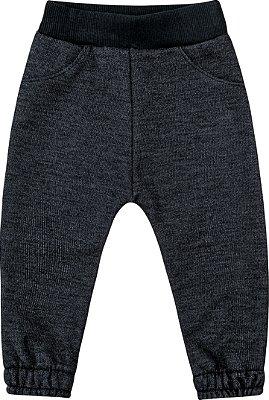 Calça em Moletom Jeans Peluciado Preto
