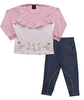 Conjunto de Blusão em Moletinho e Calça em Cotton Jeans Salmão