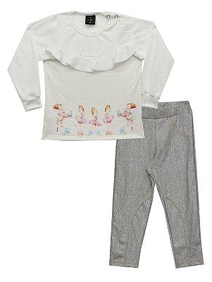 Conjunto de Blusão em Moletinho e Calça em Cotton Jeans Bege